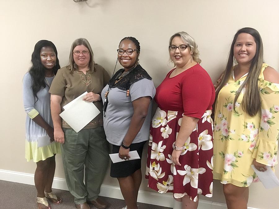 Jonnetta Brown, Carmen McQueen, Danaysia Powell, Amber Meares and Olivia Scott are teachers of the year for Whiteville City Schools.JPG