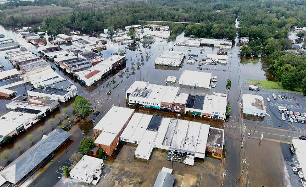 Drone shot of flooding from Hurricane Florence in downtown Whiteville.