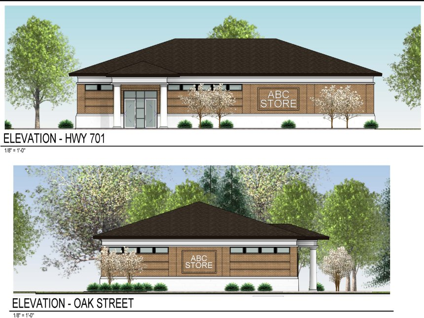 The Rocky Mount architectural firm of Oakley Collier showed council preliminary drawings of the new ABC store at 302 Oak St. at the intersection of Oak Street and Powell Boulevard.