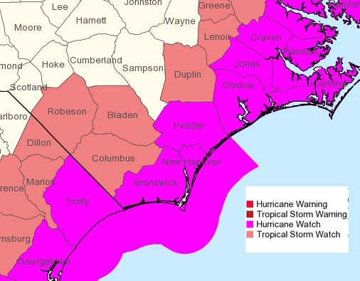 Columbus County is now under a tropical storm watch as Hurricane Dorian moves northward.