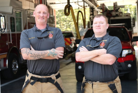 Captain Mark Rowan, left, and Lt. Kyle McDaniel were the only full-time staff guaranteed to respond to a call Wednesday afternoon.