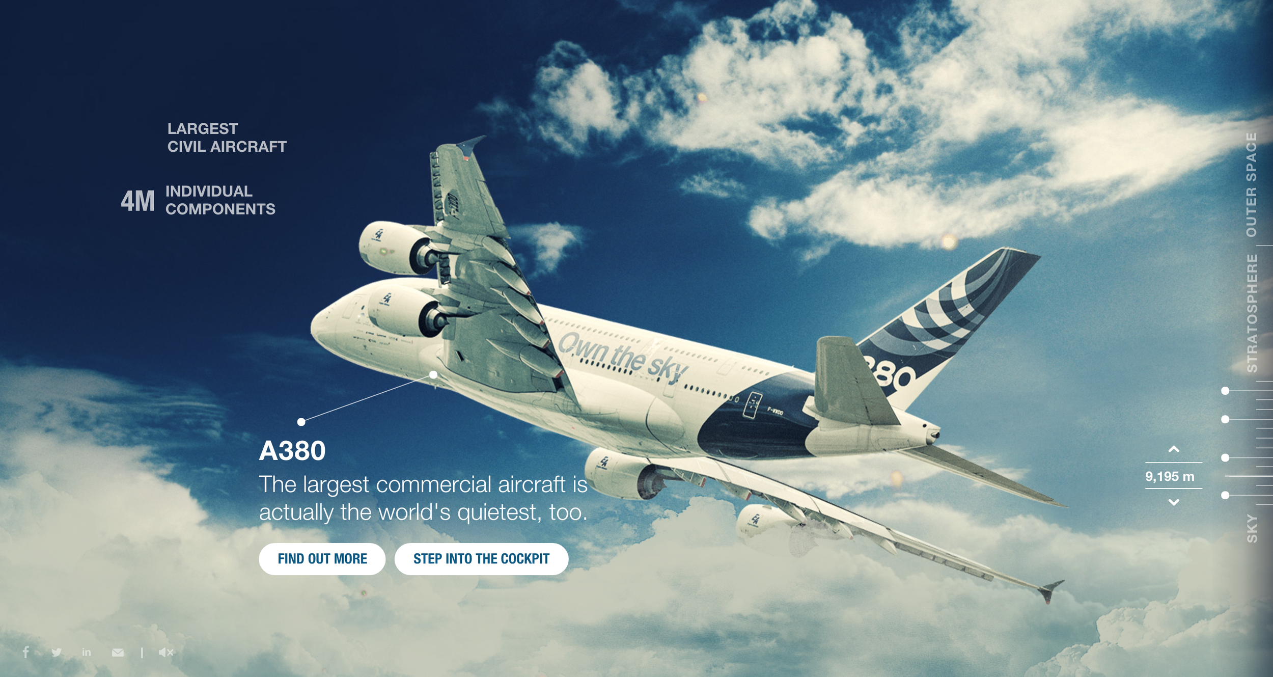 The Sky Is Not The Limit micro site featuring the most popular aircraft and technology from the Airbus Group.