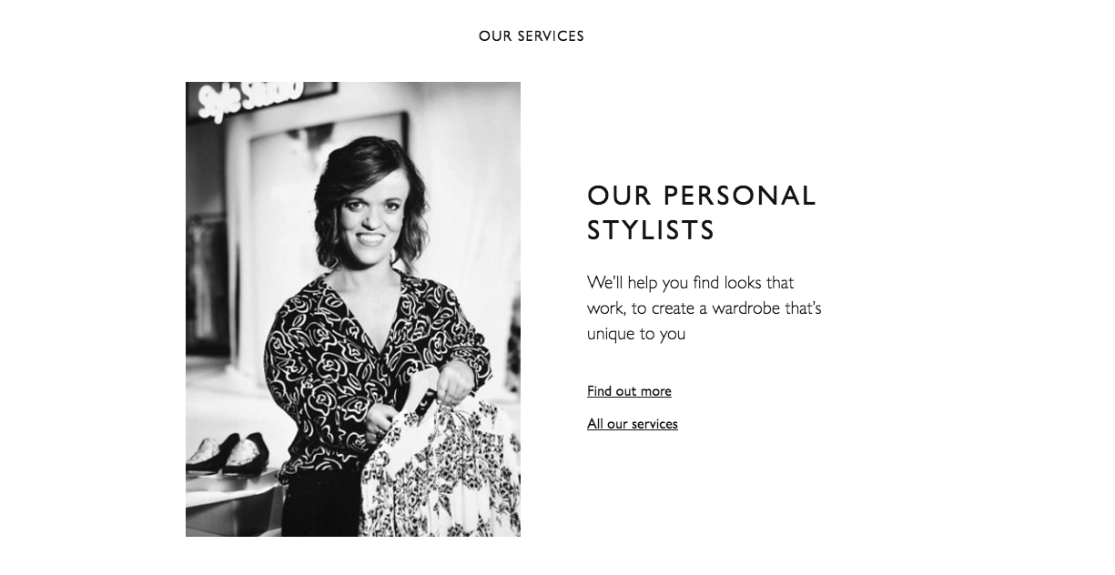 John Lewis & Partners featured Lucy Knight, one of their professional Personal Stylists on their homepage. No big fanfare or press release, just integrated and incidental inclusion of difference.