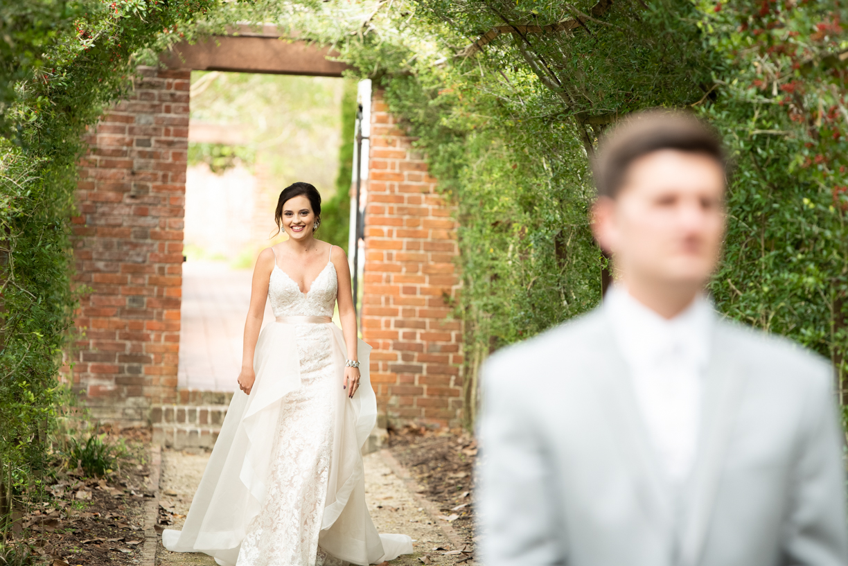 First look on their wedding day in Newbern, NC