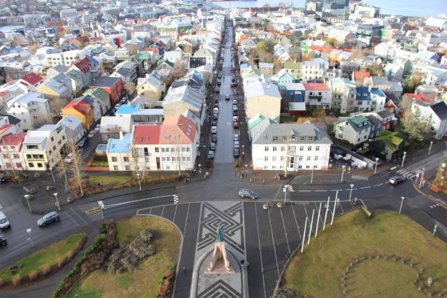 View of downtown Reykjavik, Iceland from the top of Hallgr í mskirkja Church