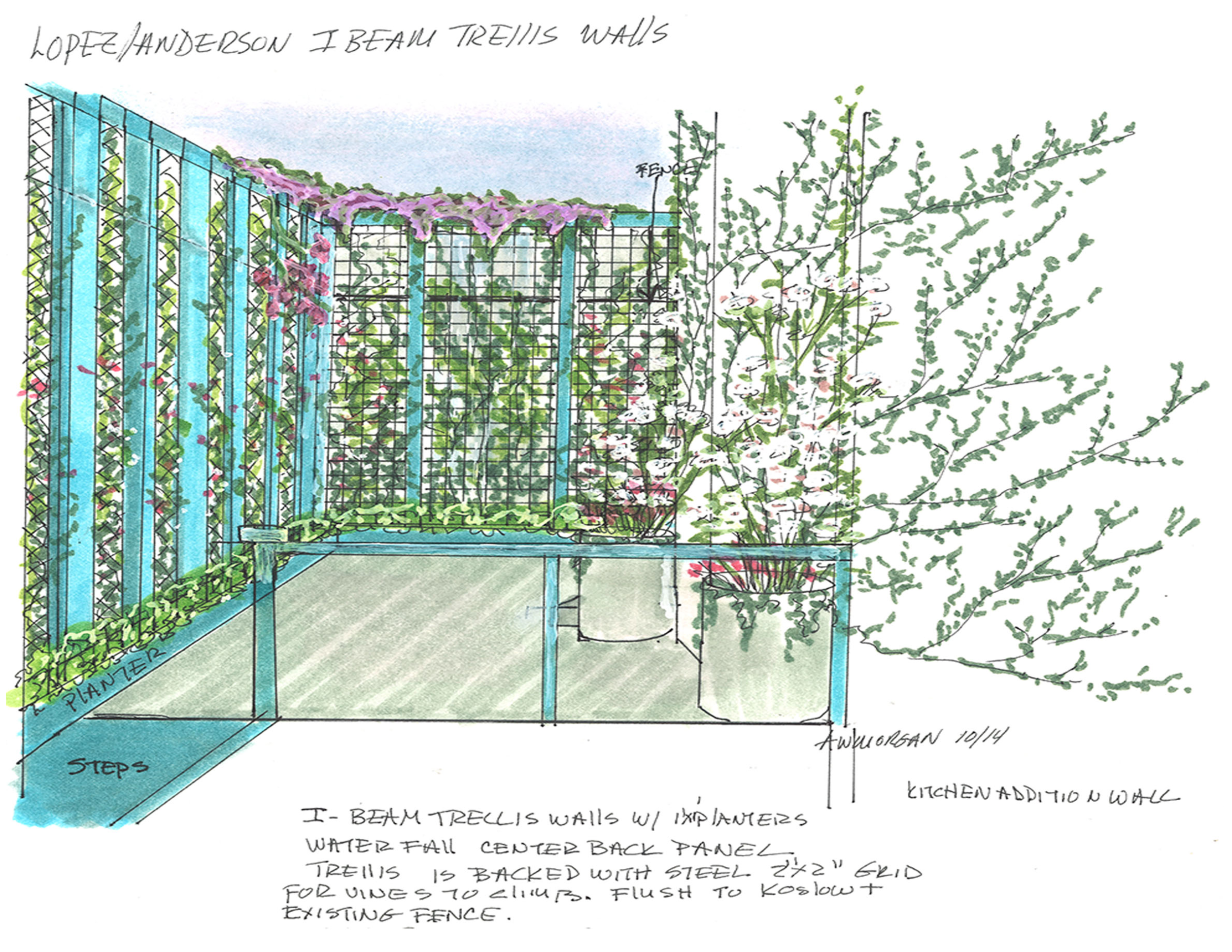 Sketch Vertical Garden, Brooklyn
