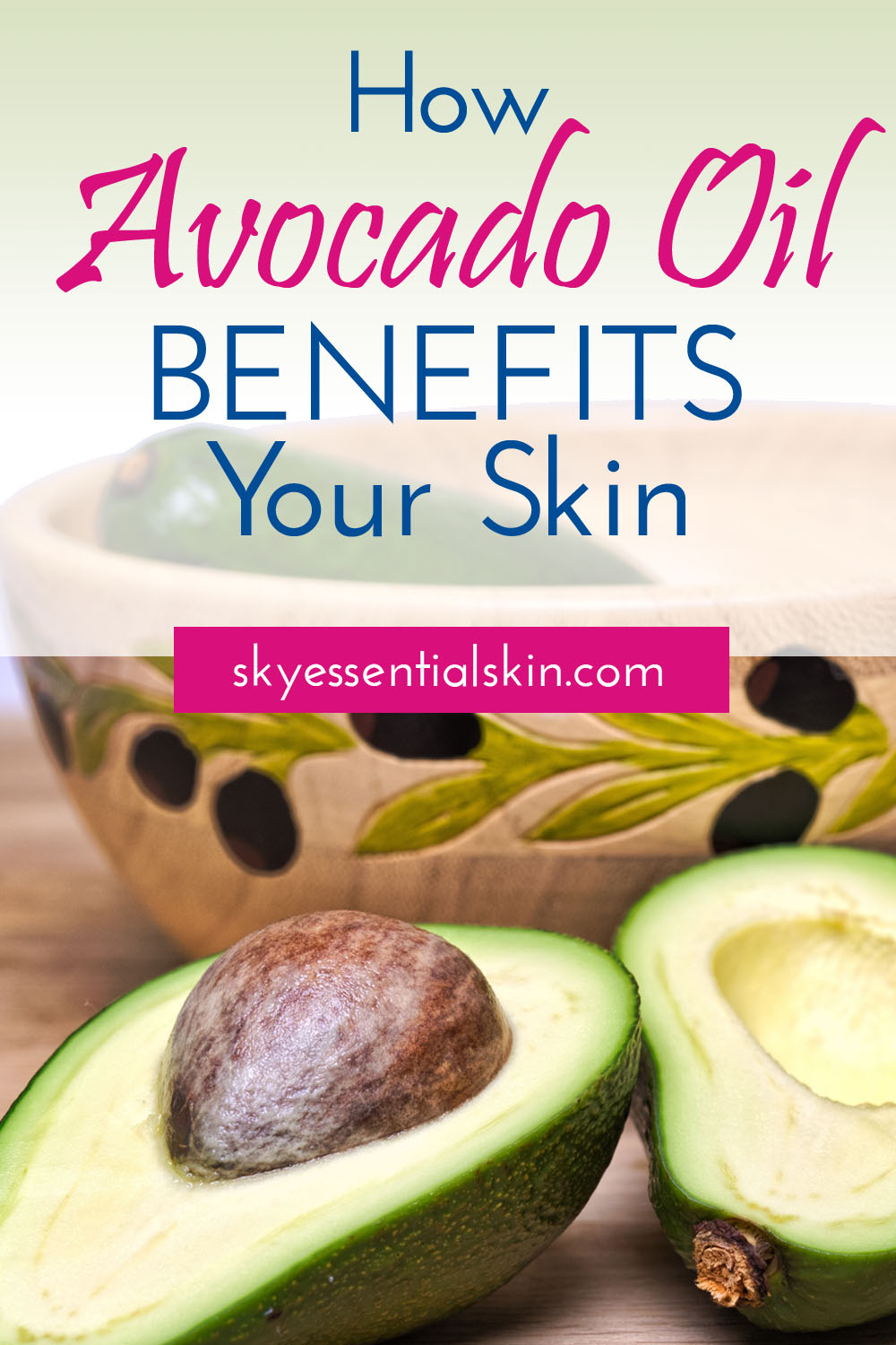 How Avocado Oil Benefits Your Skin - Just like olive oil, avocado oil is a great antioxidant, extremely potent and contains Vitamin's A, B, D and E. Learn what this oil can do for your skin. #avocadooil #avocado #skincare #antiaging #dryskin #eczema #psoriasis #sensitiveskin