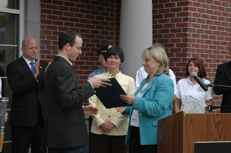Dustin Neece Recieving State Senate Official Citation.jpg