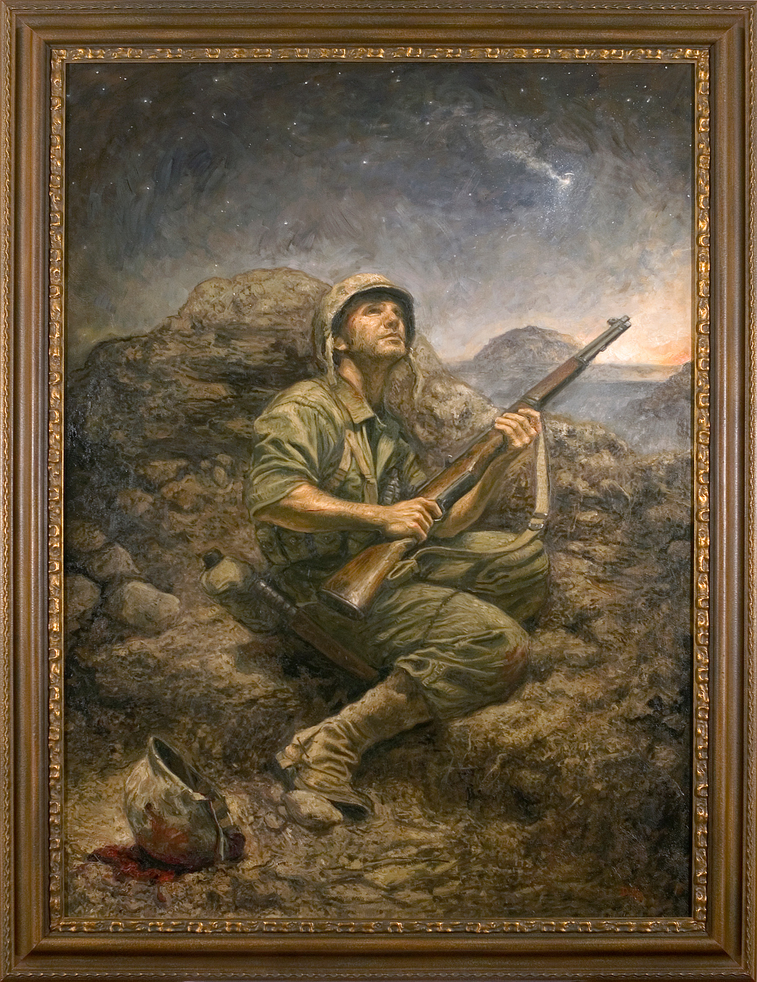 Honoring The Spirit Iwo Jima Painting Framed Large.jpg