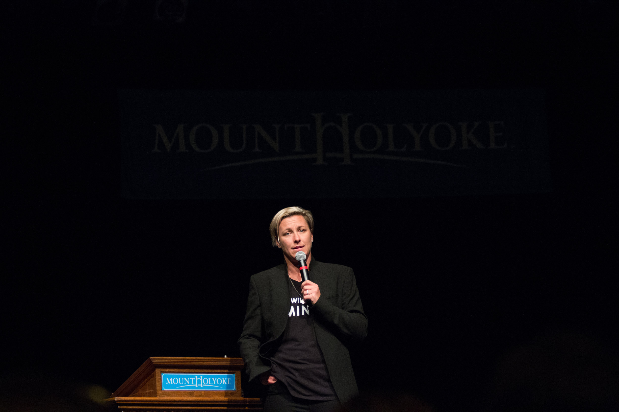 Photo by Izzy Olgaard '18    Abby Wambach's speech on the nuances of leadership and achievement drew more than 800 students and staff.