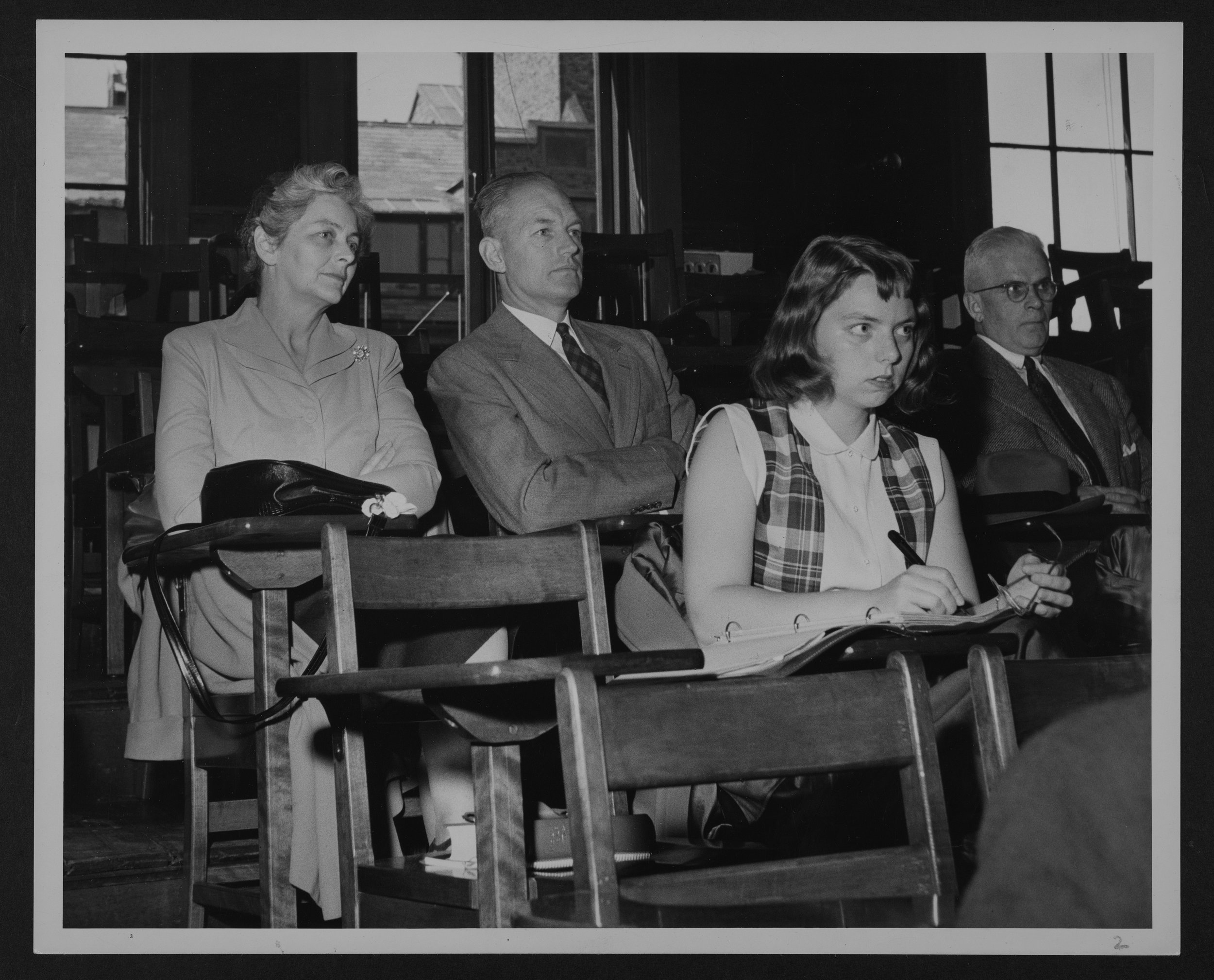 Parents attend their children's morning classes in 1951.