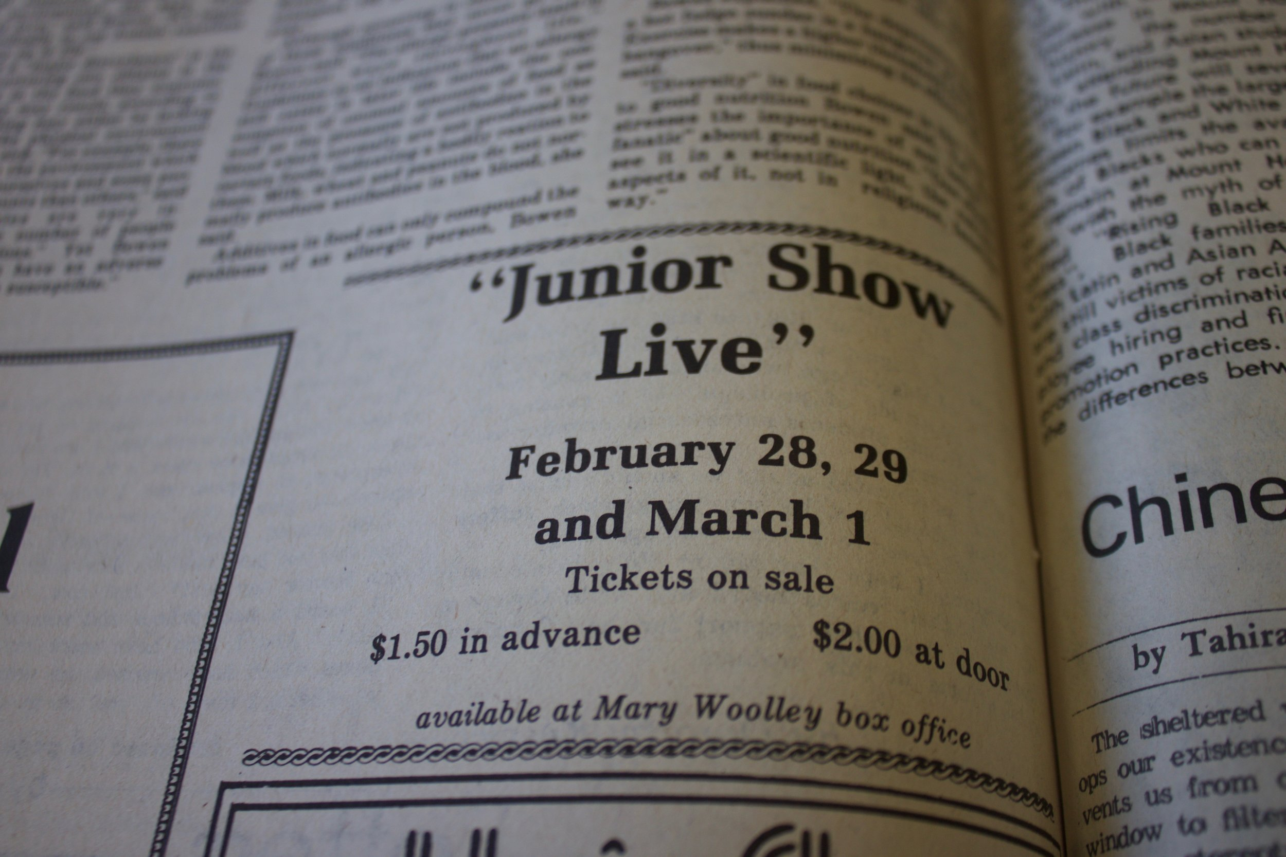 Photo by Yingke Yang '20  Mount Holyoke's junior class has presented a J-Show every year since 1921.