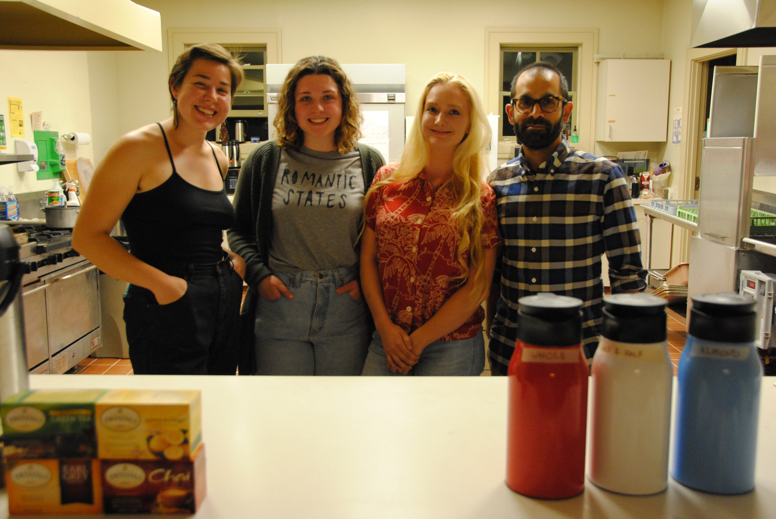 Photo by Ayla Safran '18    Group shot of Mo'Coffee team, Azulina Green '17, Natalie Kulak '21, Savannah Harriman-Pote '20, Ali Aslam (Faculty).