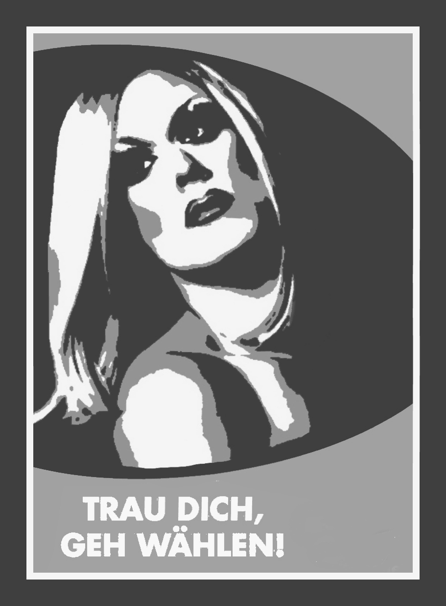 """Graphics by Carrie Clowers '18  """"Travesty for Germany,"""" led by Berlin drag queen Jacky-O Weinhaus, uses posters to campagin against the AfD."""