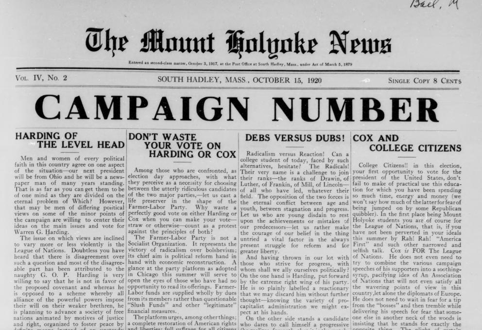 Image courtesy of the Mount Holyoke College Archives