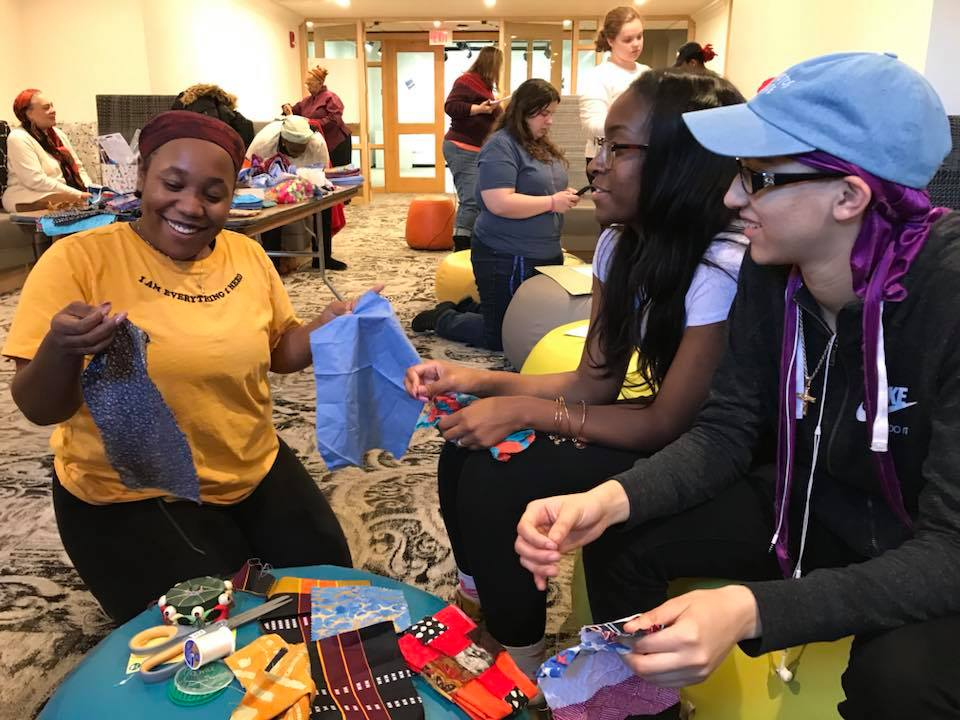 Photo courtesy of Sr. Annette McDermott  Students attended the quilting event in the Unity Center on Sunday to learn about sewing and to create quilts that represent their own religious, spiritual, or cultural organizations.