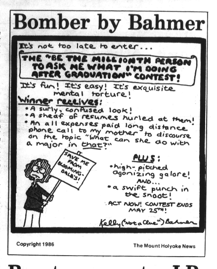 A March 6, 1986 comic depicts the classic post-grad uncertainty.