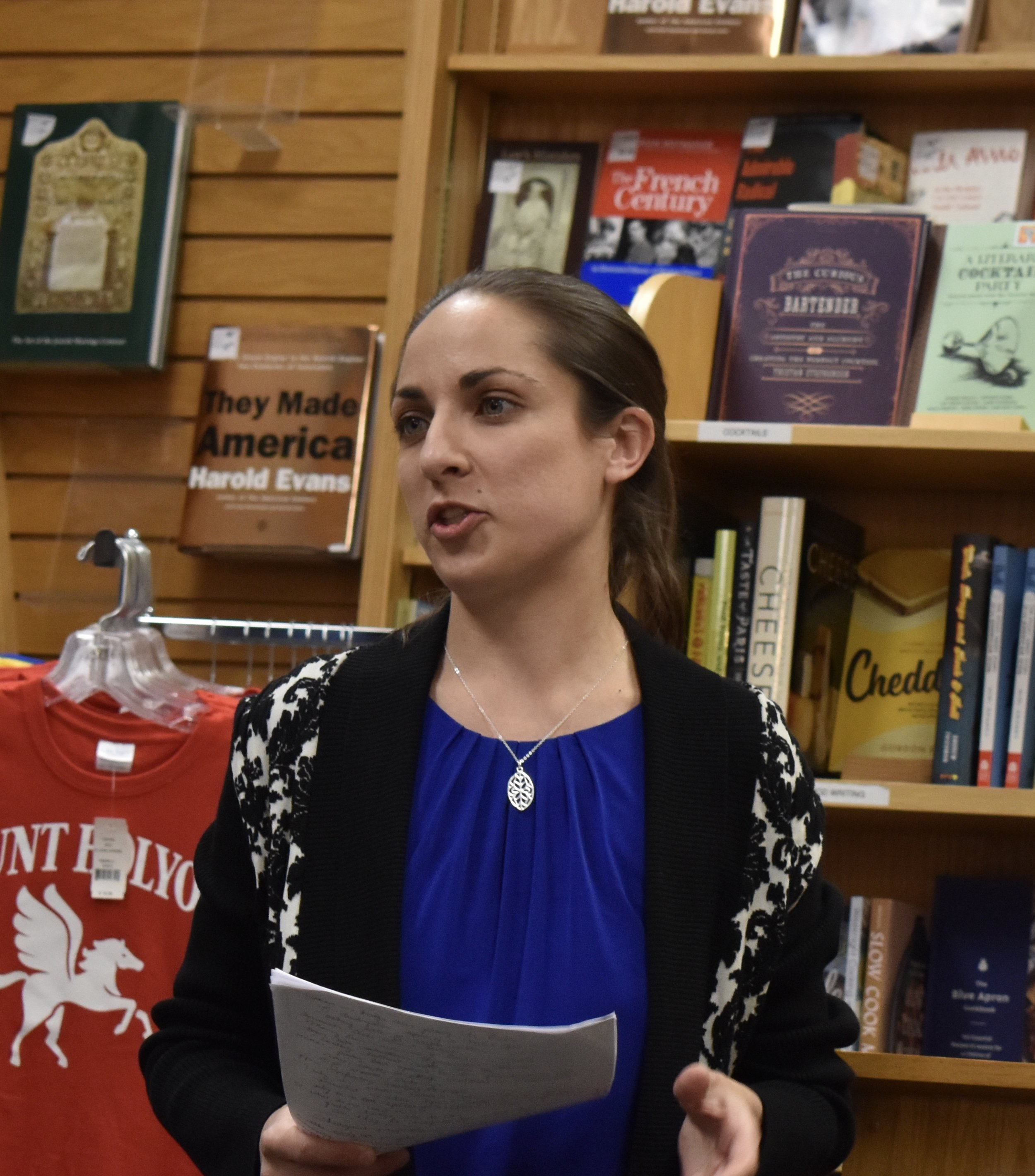 """Photo by Emma Himmelberger '20  Mount Holyoke Professor Christine DeLucia discussed her book, """"Memory Lands,"""" and the idea of """"alternate histories."""""""