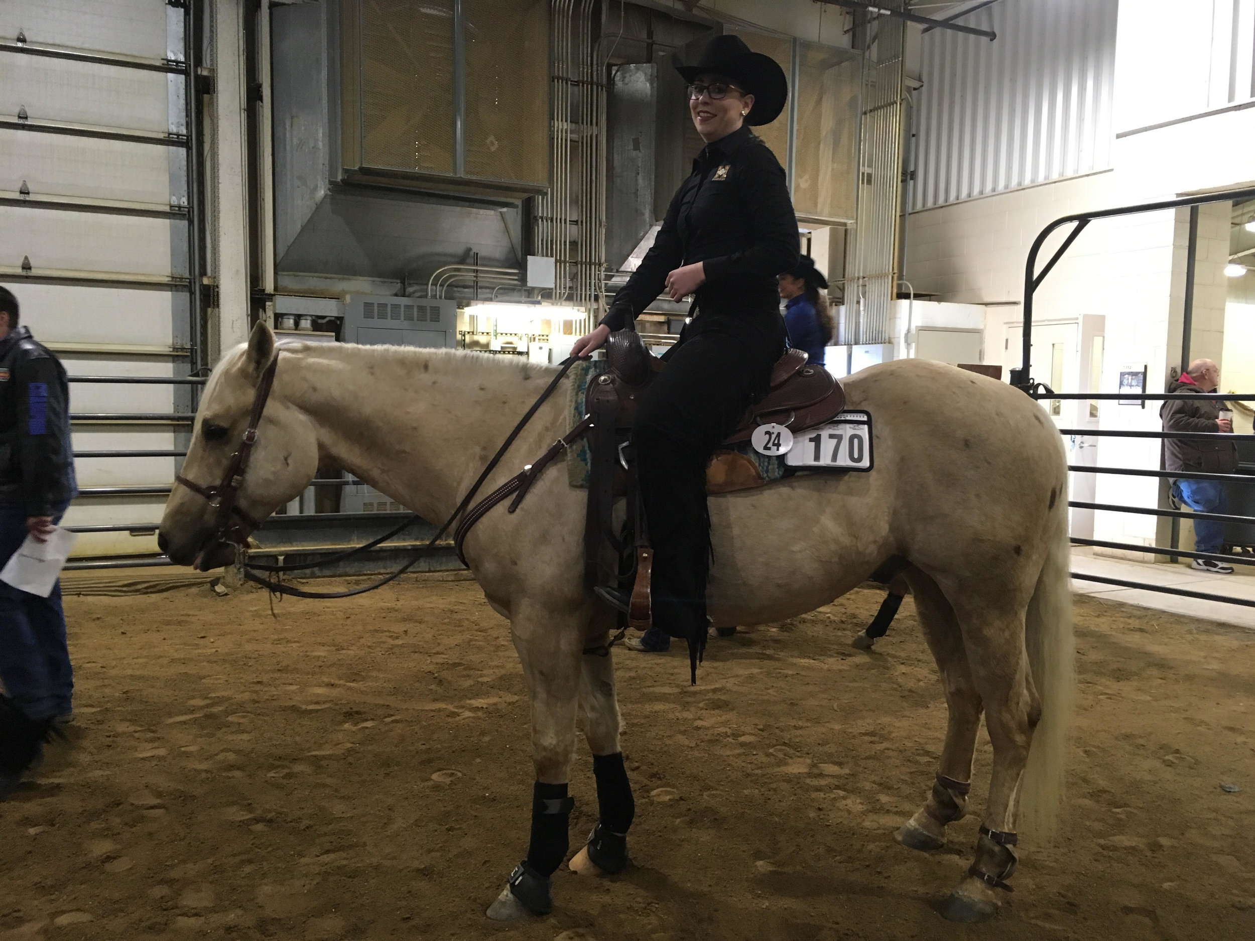 Photo courtesy of riding Head coach, C.J. Law  Juliana Ronn '18 sits atop of her horse. She will compete at this year's national championship with the team.
