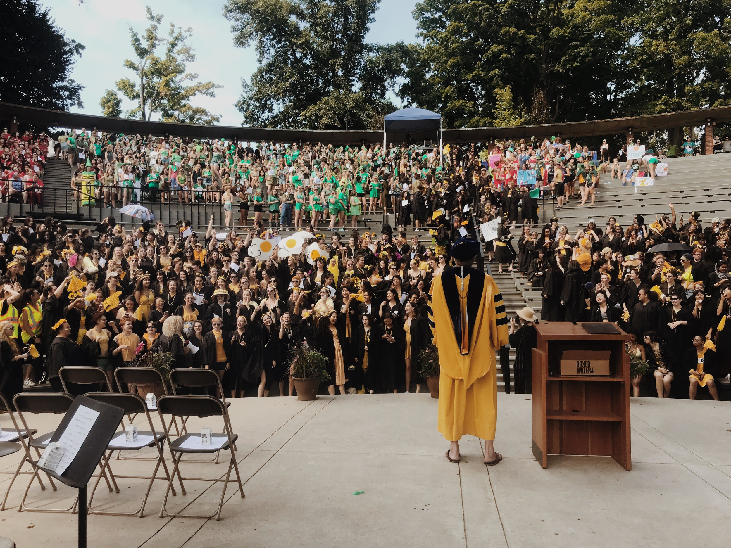 Photo by Natalie Kulak '21  The class of 2019 celebrates with incoming and returning students at the annual Convocation ceremony.