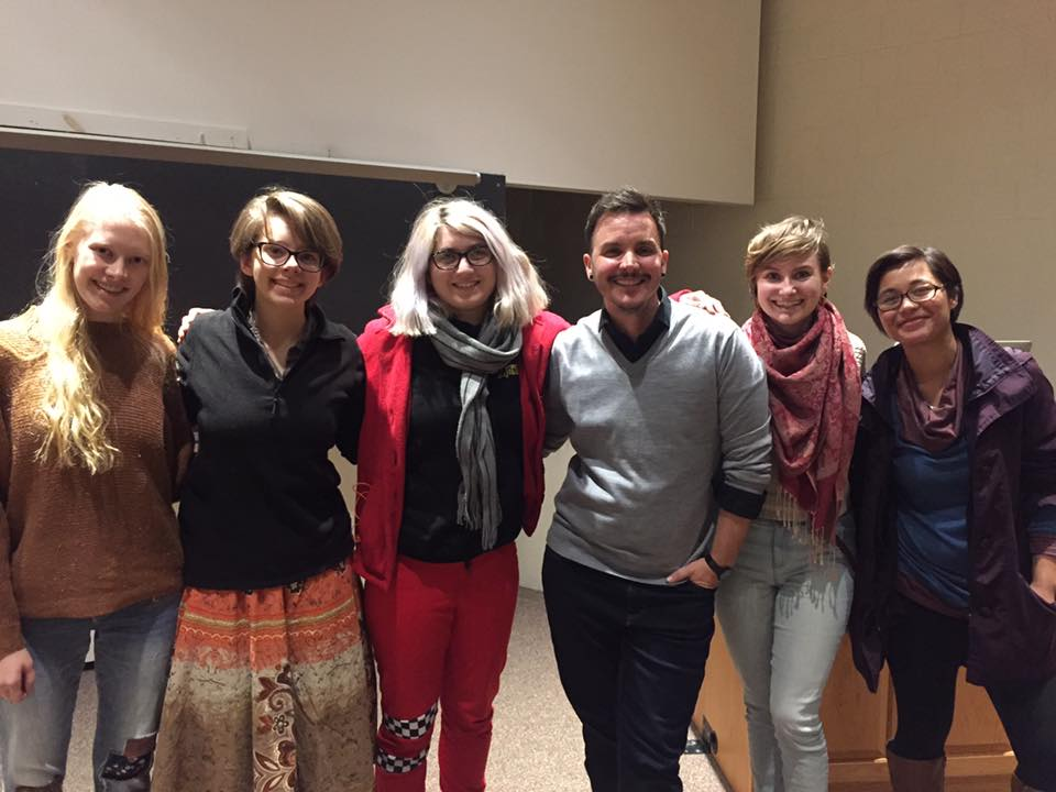 Photo courtesy of Karen Jacobus   The Active Minds students pose with Cohen (fourth from left) after his talk on LGBTQ+ issues and addiction.
