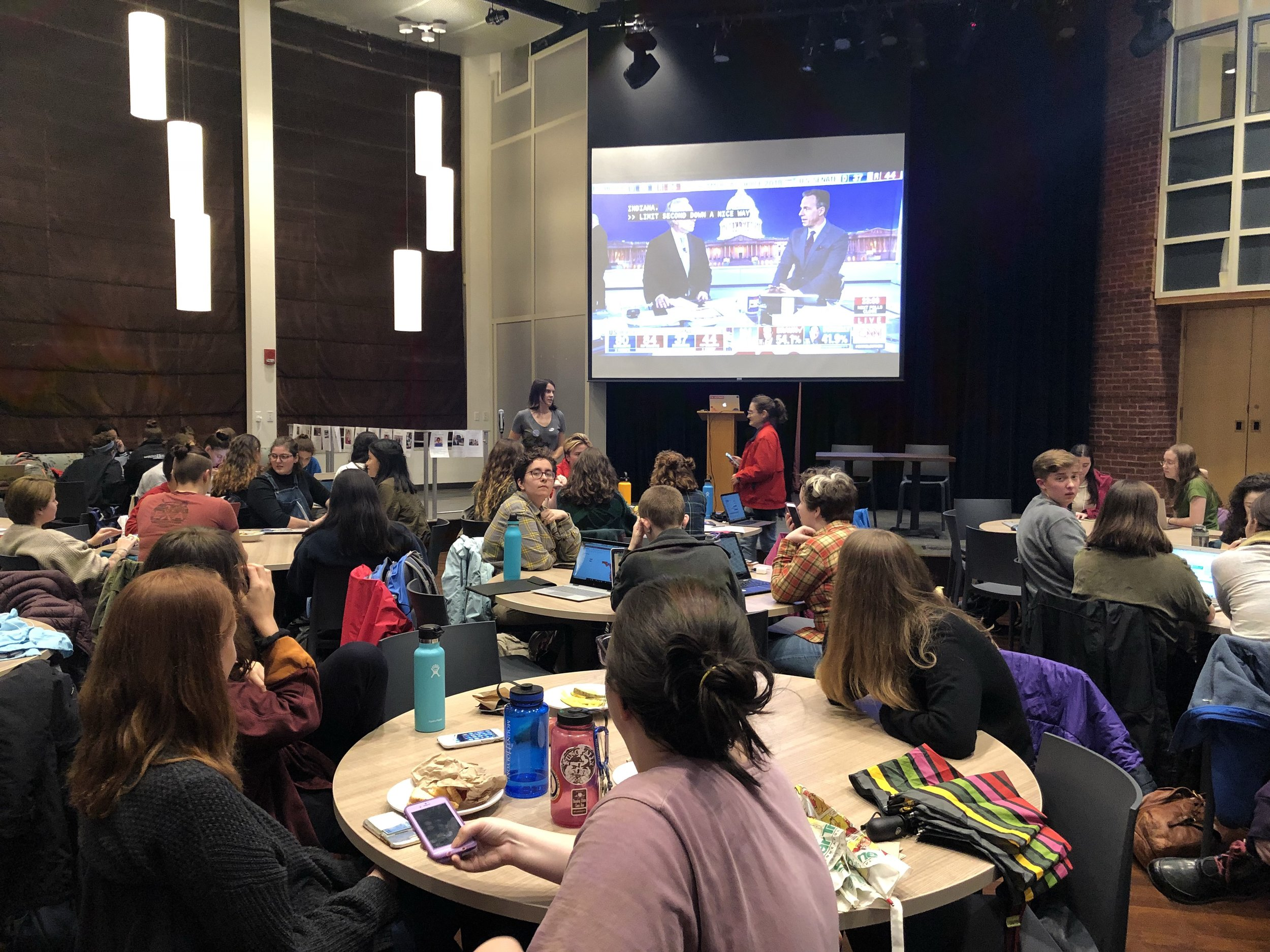 Photo courtesy of Lili Paxton '21   Students attended an election results viewing party hosted by the Mount Holyoke College Democrats on Nov. 6