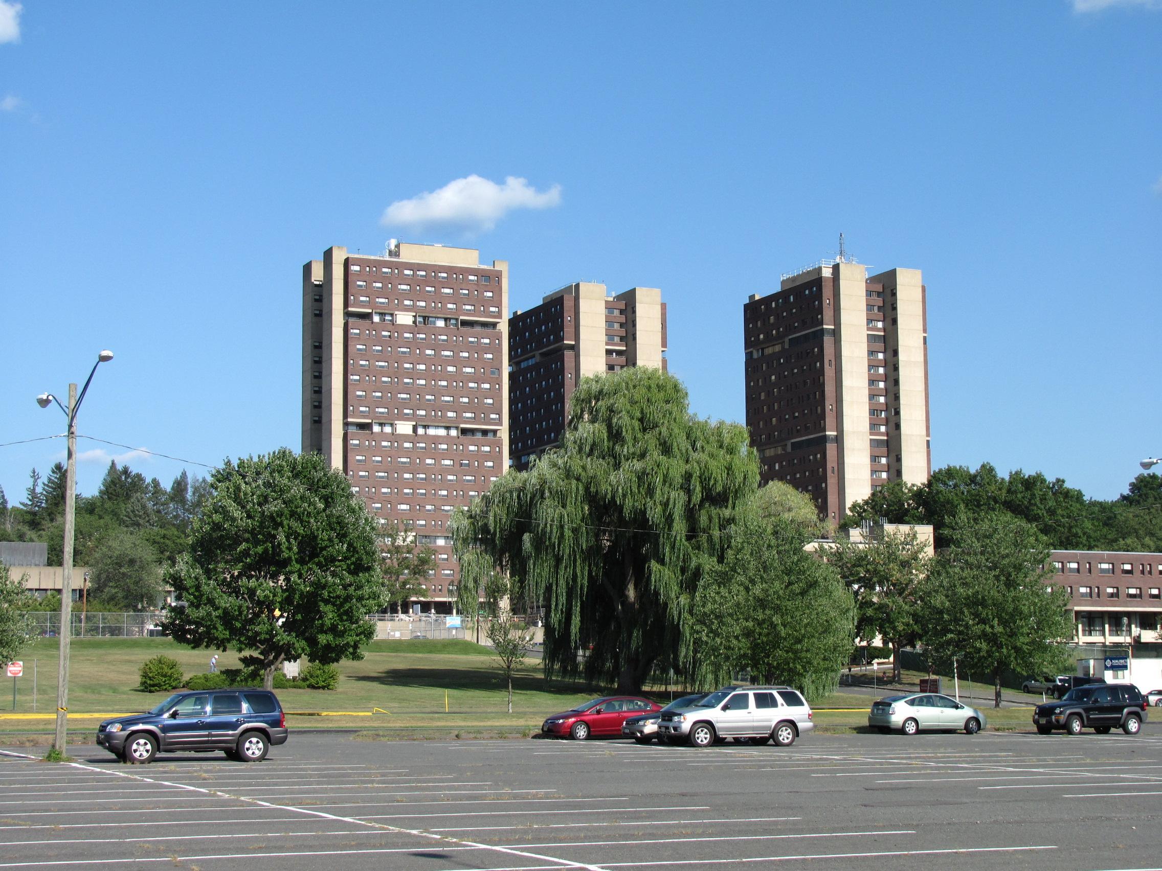 Photo courtesy of Wikimedia Commons.   The John Quincy Adams Residence Hall at UMass.
