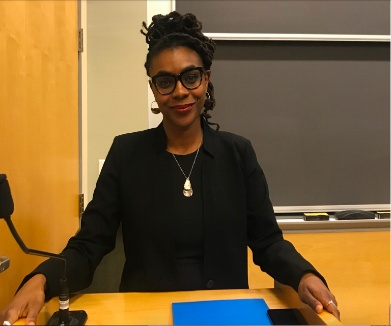Photo by Meryl Phair '21   Speaker Courtney Desiree Morris gave a talk on the racist history of toxic chemical exposure in Louisiana.