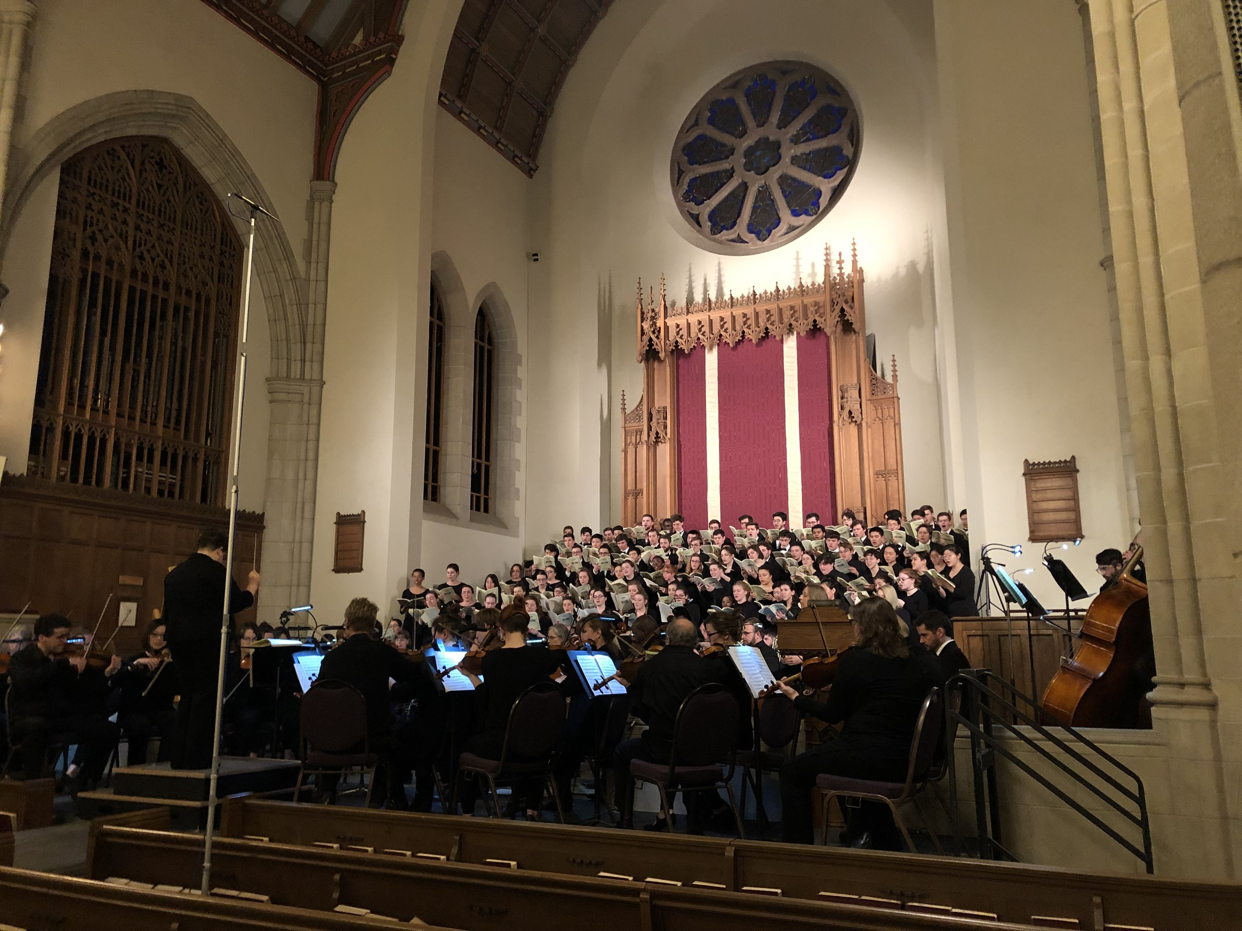 Photo by Olivia Brandwein '22   A community orchestra and the MHC and Cornell Glee Clubs joined to bring Brahms' Requiem to Abbey Chapel last Saturday.