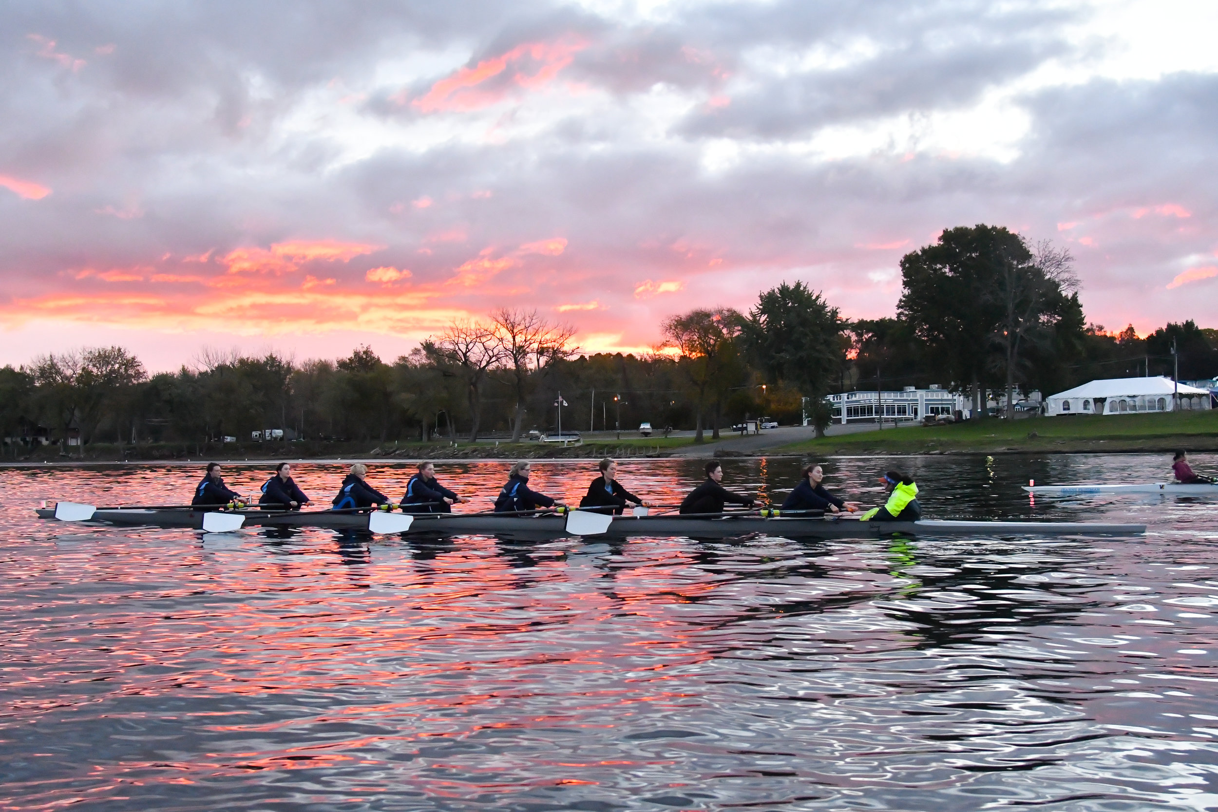 Photo courtesy of RJB Sports Photography Over spring break, the rowing team traveled to Clemson, South Caro- lina for their week-long training trip hosted at Clemson University.