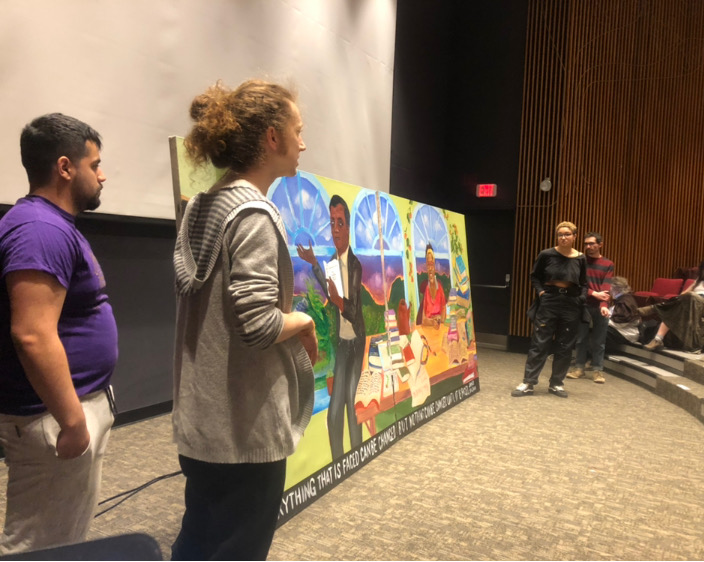 Photo courtesy of Killian Dobroth  Whealon Costello, left, and Mika Cook-Right, right, created a portrait of James Baldwin and Cara Page for Hampshire Rise Up.