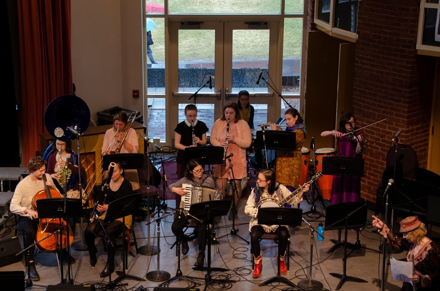 Photo by Margaret Skelly '21  The Mount Holyoke Klezmer Band on stage at the Five College Jazz Festival last Friday.