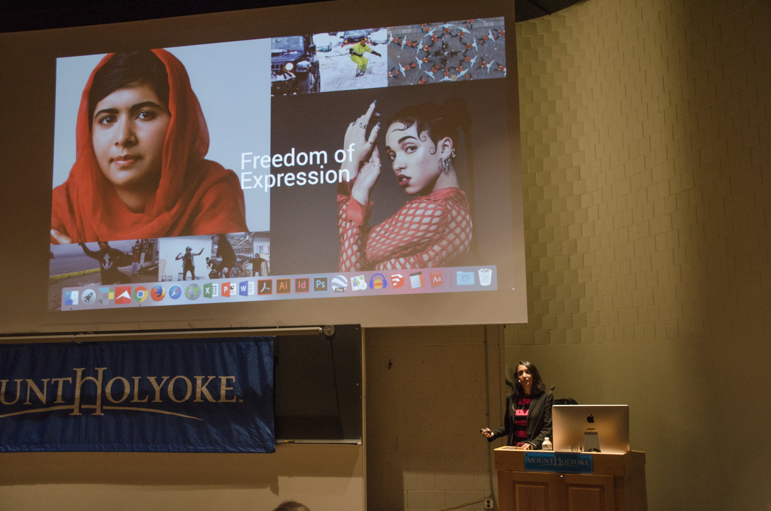 Photo by Margaret Skelly '21  Sowmya Sumramanian as she discusses Freedom of Expression