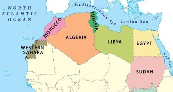 Image courtesy of Wikimedia Commons The North African region typically includes Western Sahara, Morocco, Algeria, Tunisia, Libya, Egypt, Sudan and South Sudan.