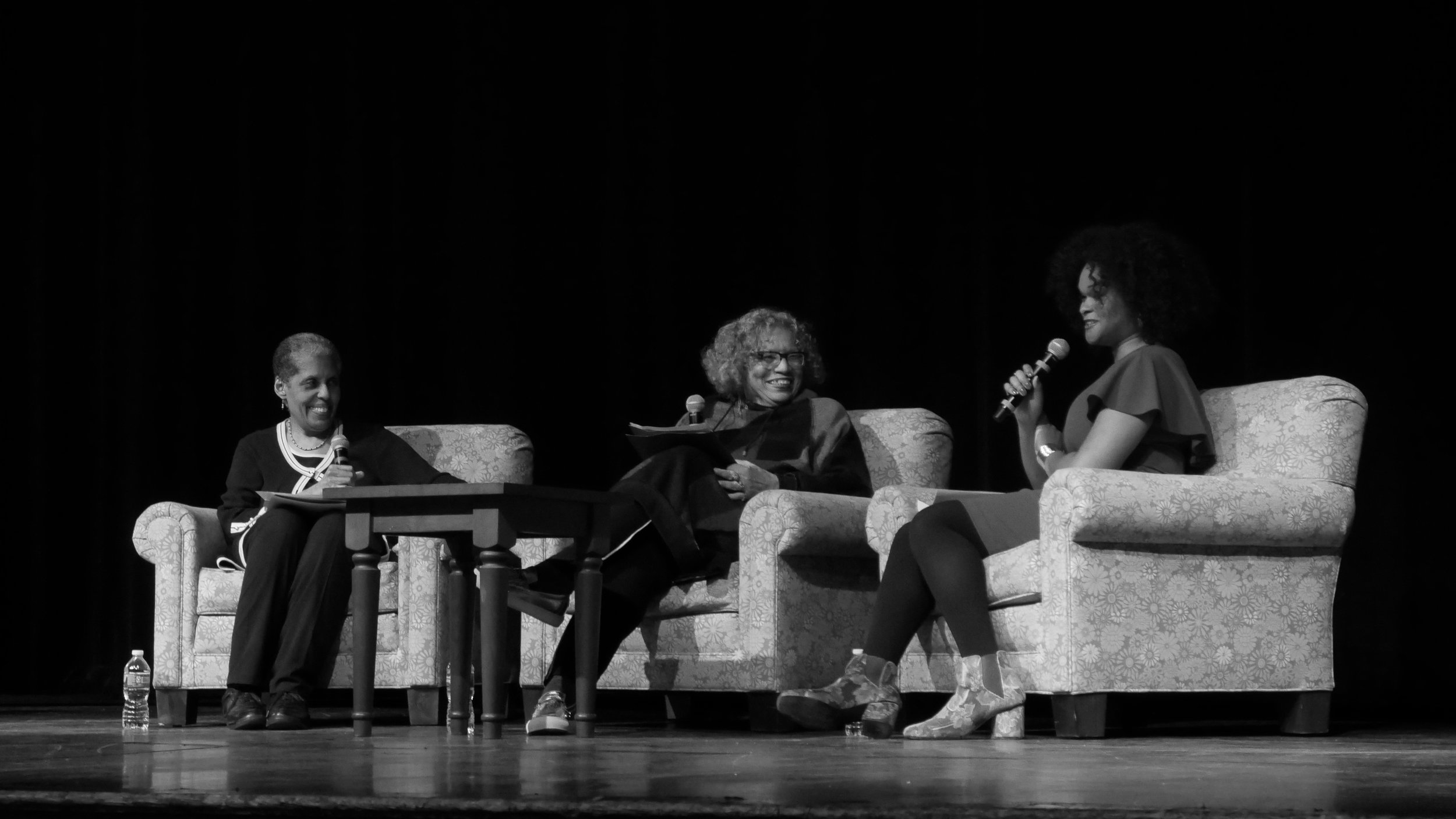 Photo by Trinity Kendrick '21  Barbara Smith '69, Beverly Guy-Sheftall and Raquel Willis held the keynote in Chapin Auditorium.