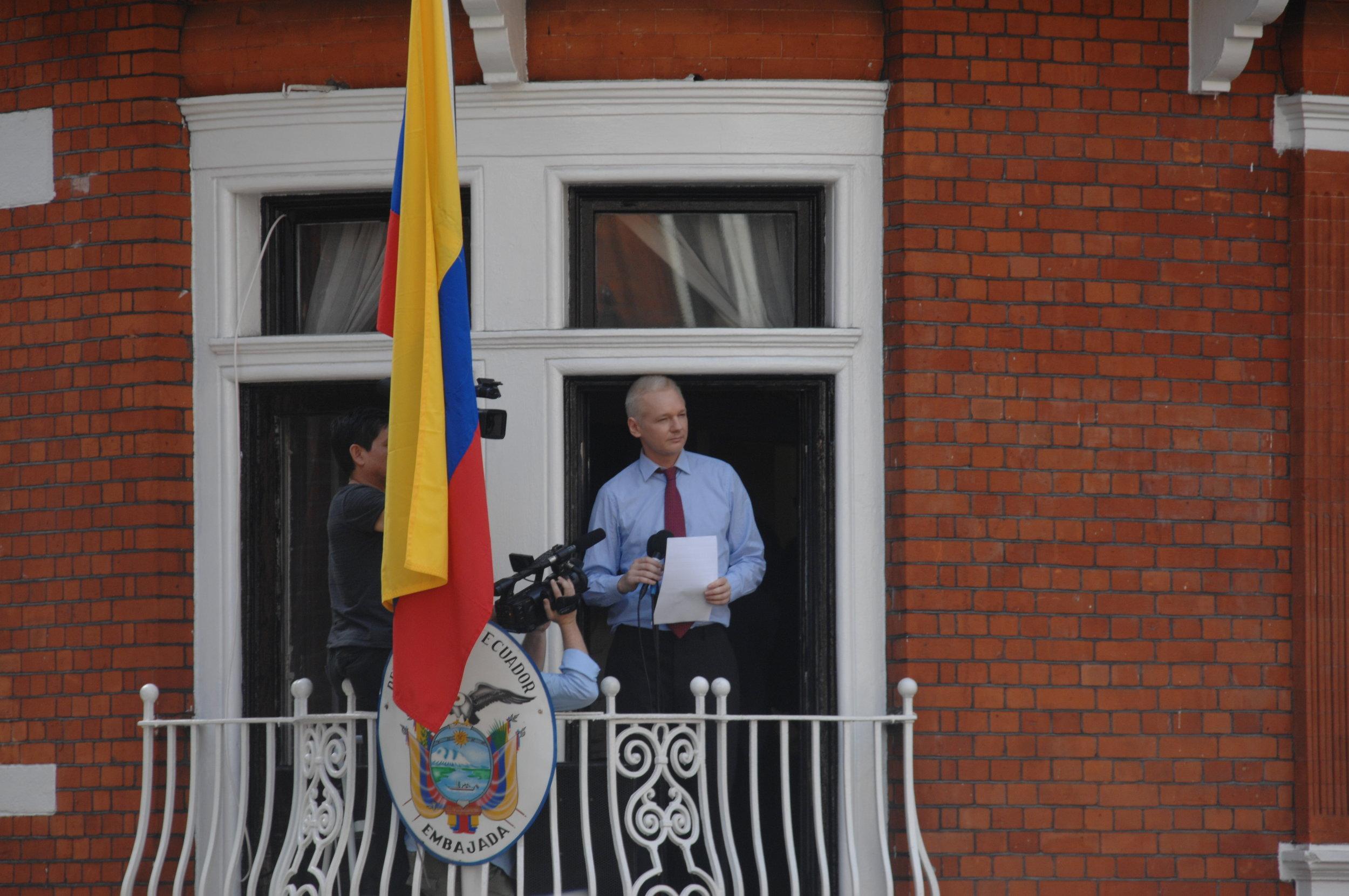 Photo courtesy of WikiCommons Julian Assange at the U.K. Ecuadorian Embassy in London in 2012.
