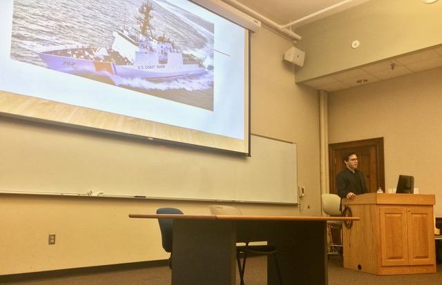 Photo by Allyson Huntoon '19  Award-winning journalist Seth Freed Wessler gave a talk in Dwight 101 on Monday, April 22.