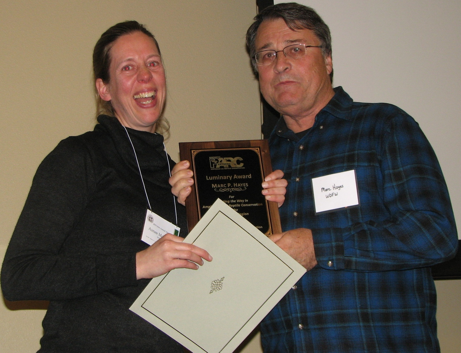 Aimee McIntyre presented Marc Hayes with his award. Marc was very surprised and consequently speechless!