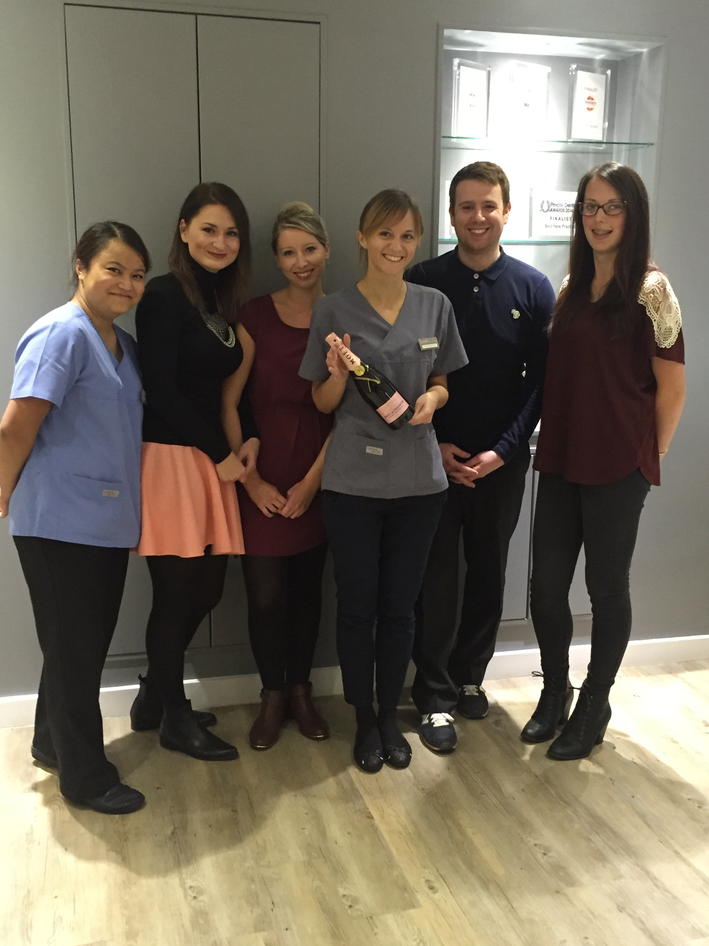 the team at tooth dental surgery in waterloo, london celebrating our Best Dental Practice Award win
