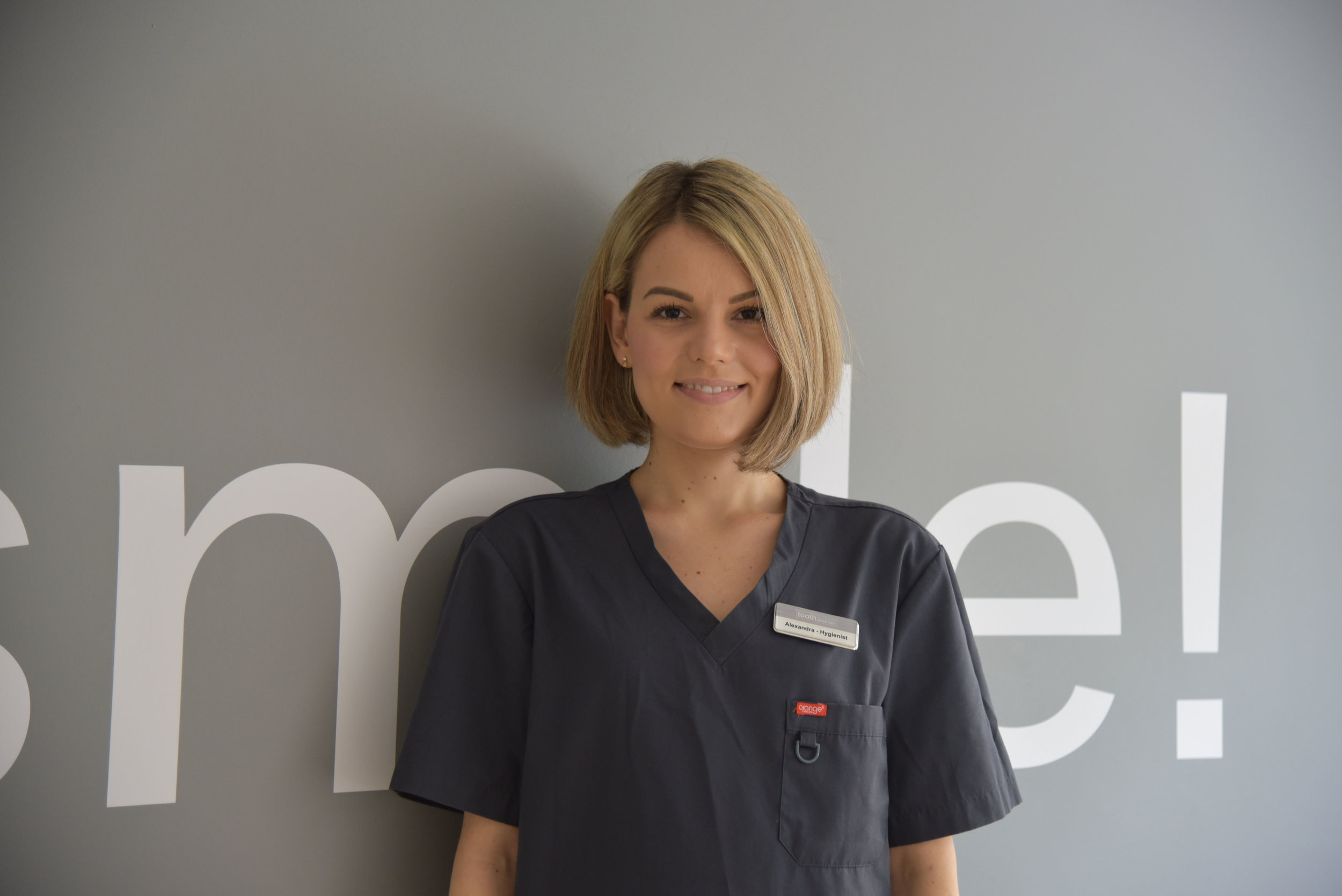 ALEXANDRA GILMEANU, DENTAL HYGIENIST AND THERAPIST, GDC No. 251536   Diploma in Dental Hygiene and Therapy, RCS England, Nat. Dip in Dental Nursing, NEBDN  Alexandra is a qualified Dental Hygienist and Therapist with experience working across a variety of practices in Greater London and the East of England. Alexandra is passionate about educating on, creating and maintaining patient oral health and has a positive and bubbly attitude that patients love. Alexandra's journey began as a trainee nurse in Richmond, soon after becoming a Qualified Dental Nurse and then going on to graduate Dental Hygiene and Therapy at the Royal College of Surgeons in 2018.