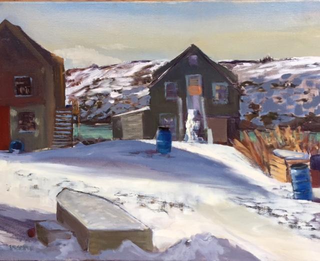 Three Blue Barrels In Snow