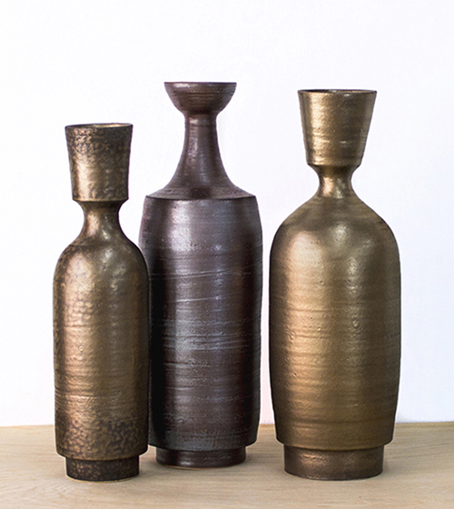 """Bronze +Gold Bottles  4""""x16"""" and 5""""x18"""""""