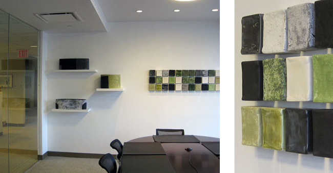 Surdna Foundation NYC , wall squares installation and vessels