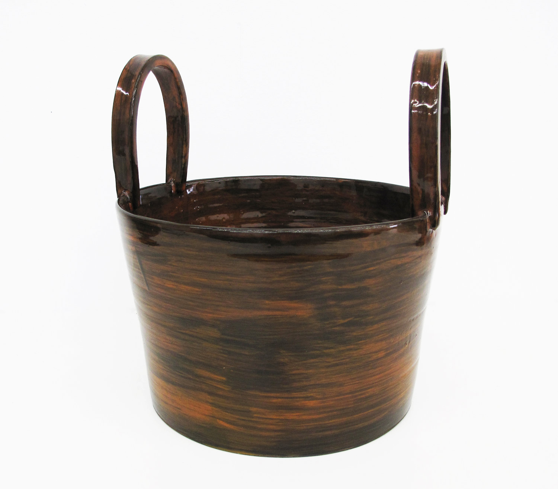 """Tall Handles Bucket Vessel  9""""x9""""x6"""""""