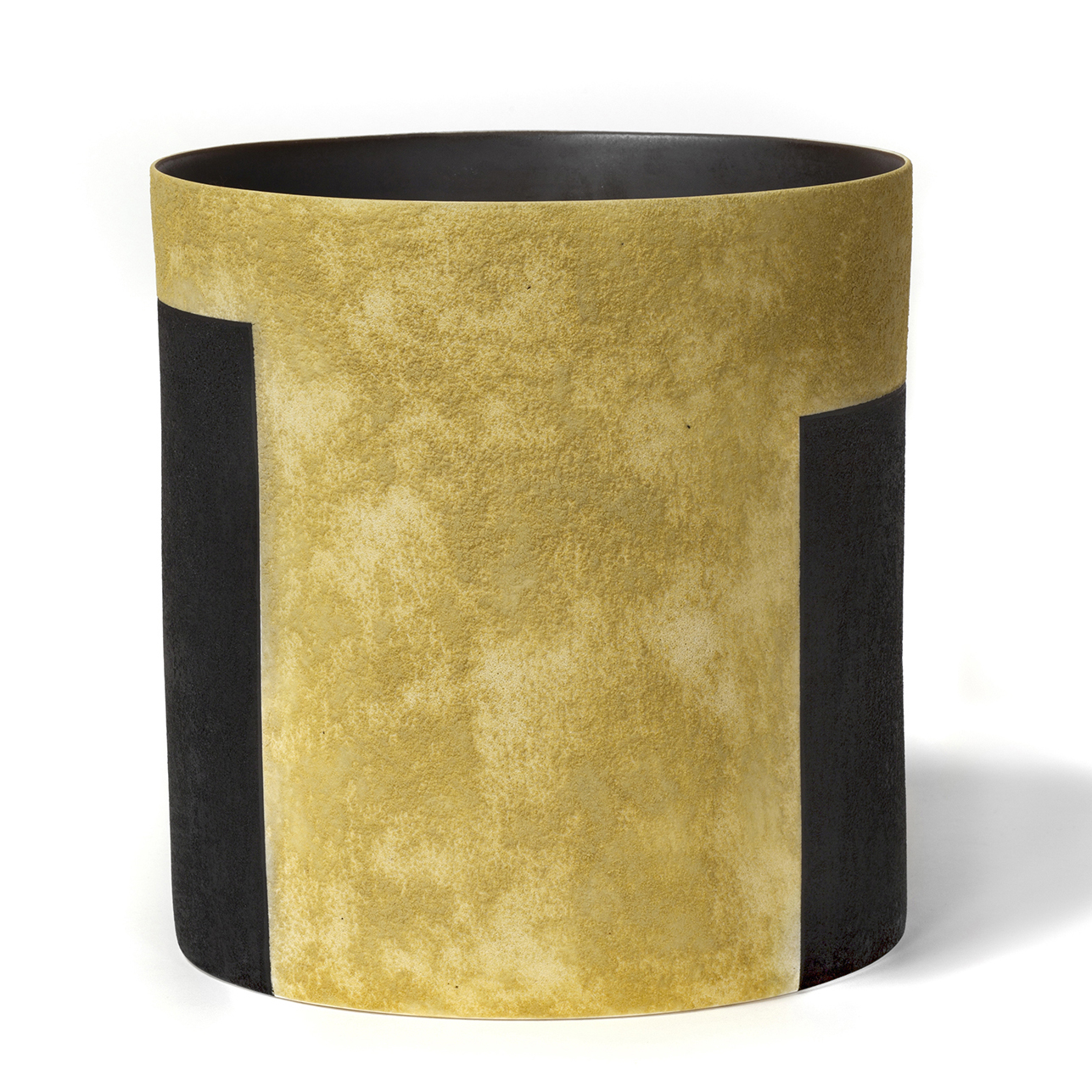 "Tall Ochre Bucket Vessel     11""x10""x11"""
