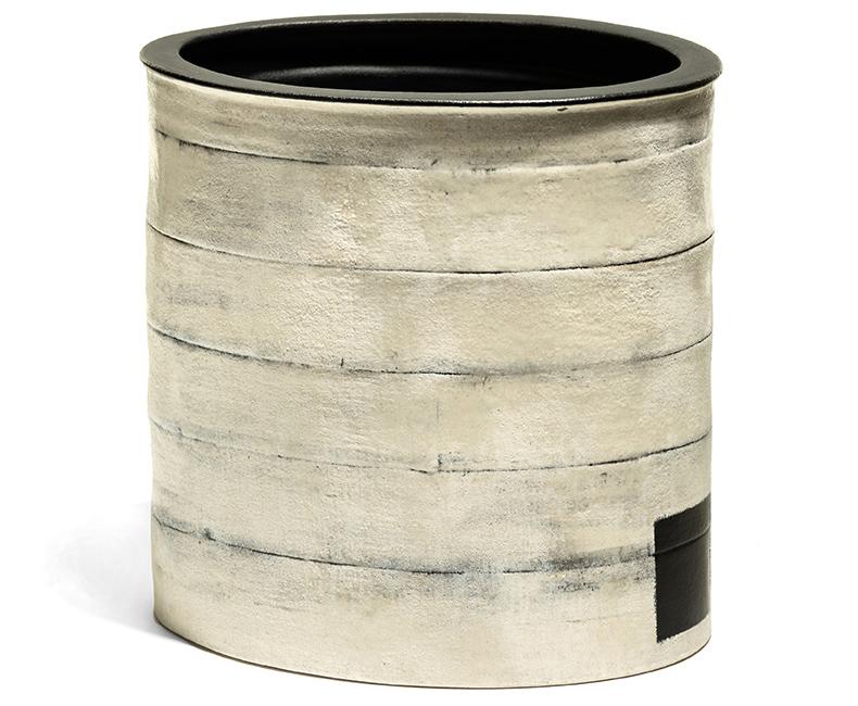 "White Bucket Vessel , 11.5"" x 11.5"" x 10.5"""