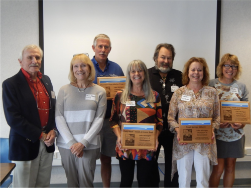 Left to right: Vicky Harris and Jon Kukuk (Wisconsin Marine Association and Clean Marina Program), Cathy Pabich, Steve and Andrea DeBaker (Trout Springs Winery), Wendy Lutzke