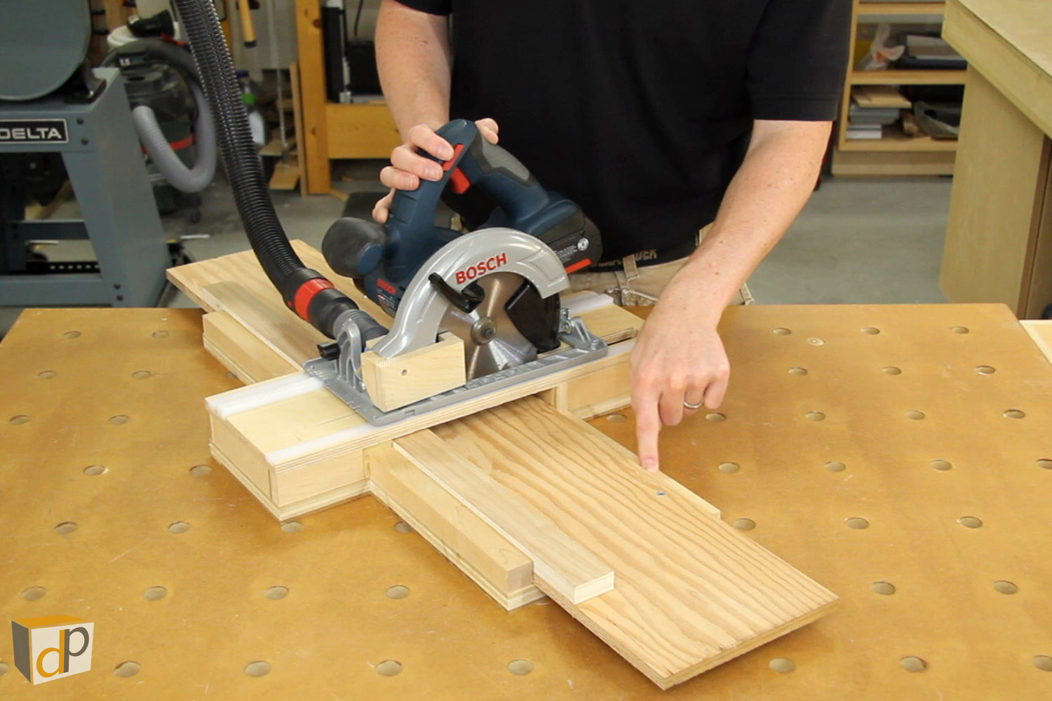 Dustless circular saw cross-cut jig with sub-base and sub-fence installed.