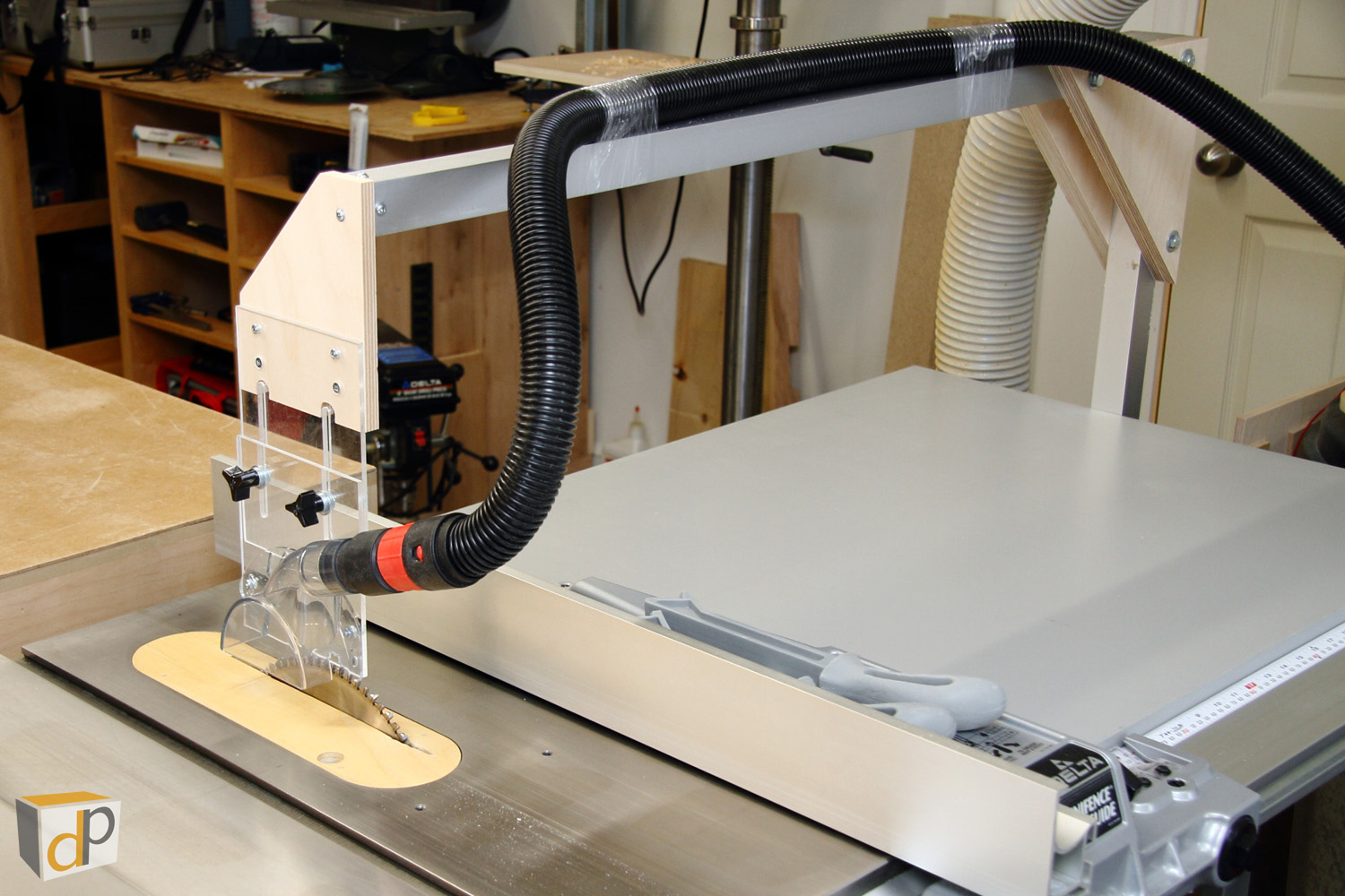 Table saw dust collection upgrade #4 - Overarm dust collector