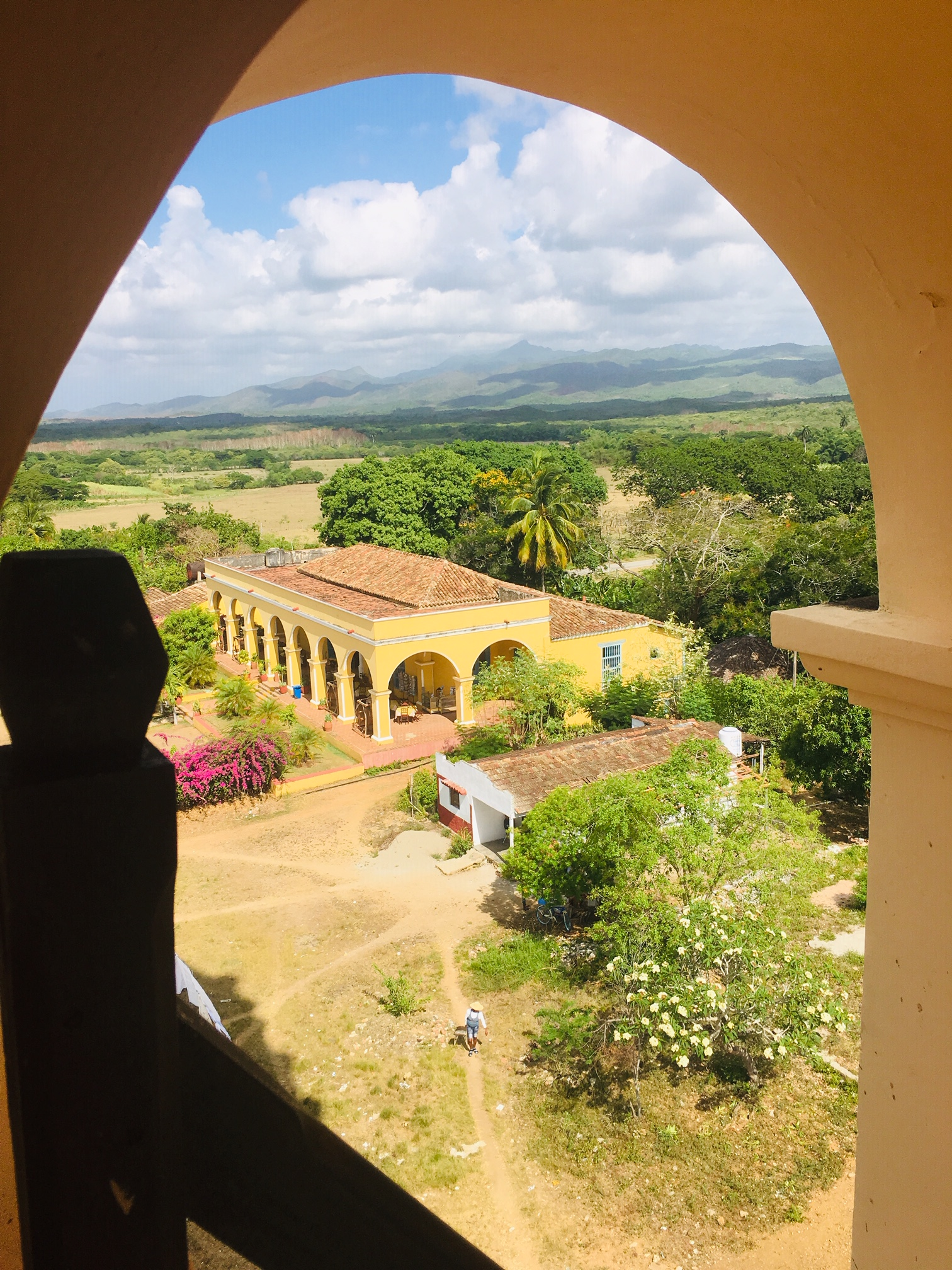 This is a view of the plantation owners house from a top of the lookout tower at Manaca Iznaga.
